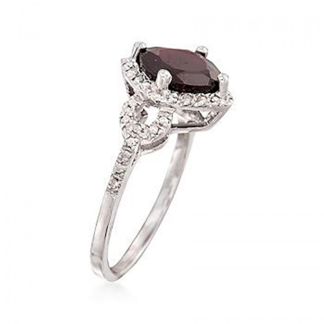 2.70 Carat Garnet and Diamond Ring in Sterling Sir