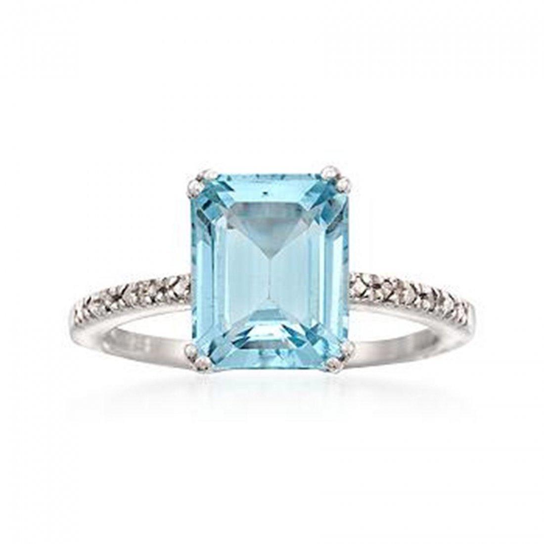 4.40 Carat Emerald-Cut Blue Topaz Ring With Diamor