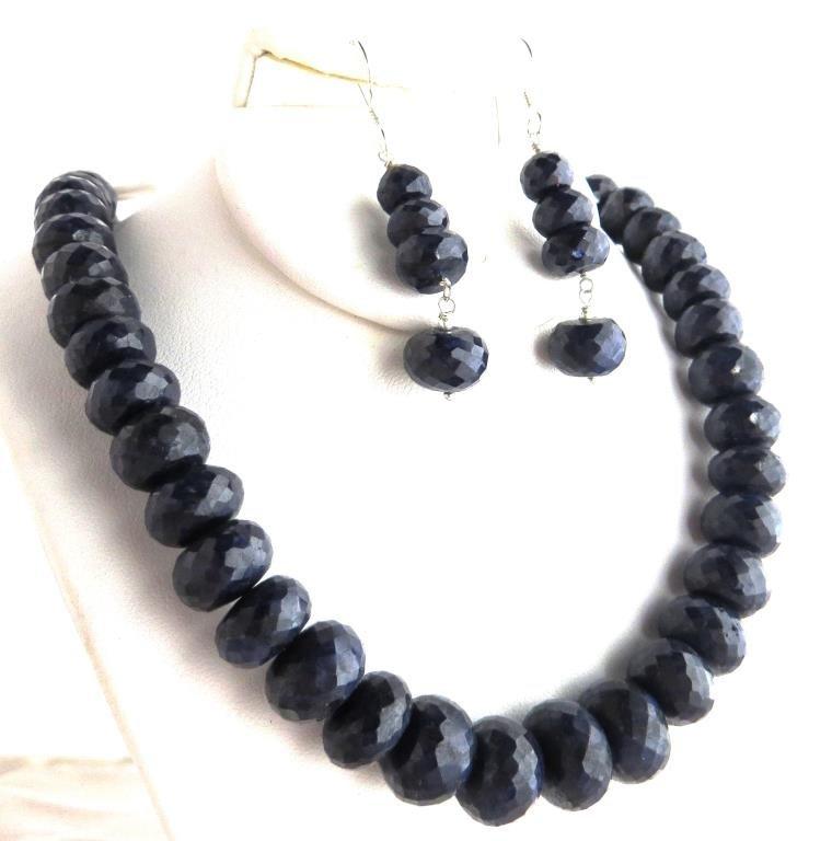 450 tcw. Sapphire Gemstone Necklace & Earring Set