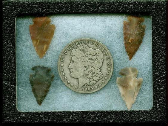 1884 s Morgan & Indian Arrowheads in Case
