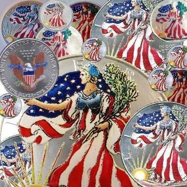Random Patriotic Painted Silver Eagle