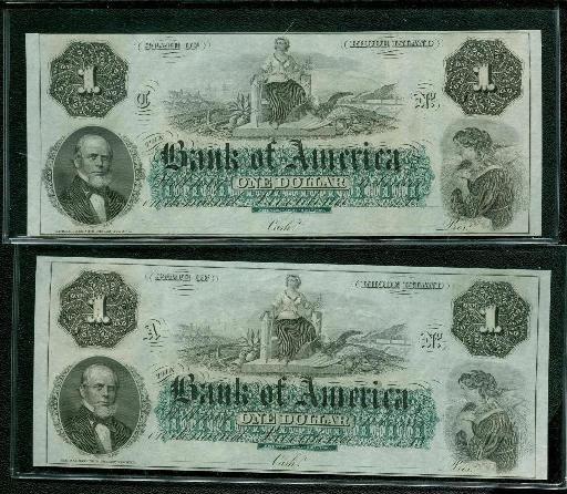 (2) Bank of America 1860's $1 Notes - RARE CRISP