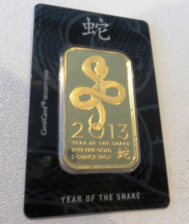 2013 1 oz .9999 Pure Gold Bar Year of the Snake