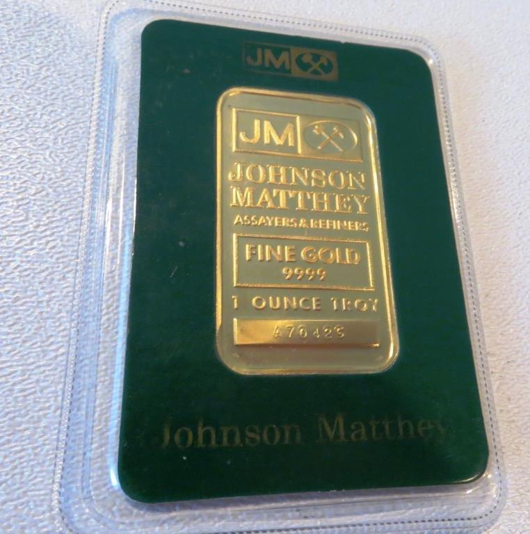 1 oz Johnson Matthey .9999 Pure Gold Ingot