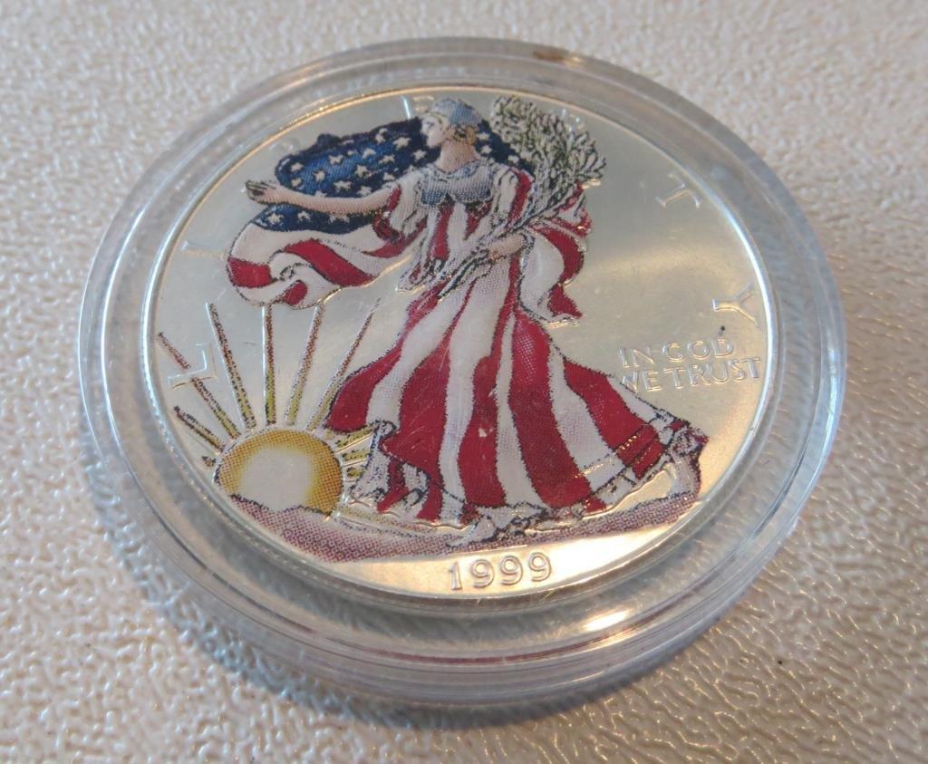 1999 US Silver Eagle Patriotic Painted