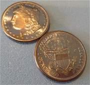 (2) Morgan Design Copper Rounds 1 oz each