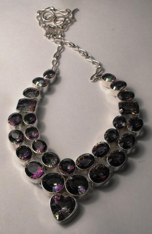 52.04 tcw Mystic Topaz Necklace Silver $ 3764 GG