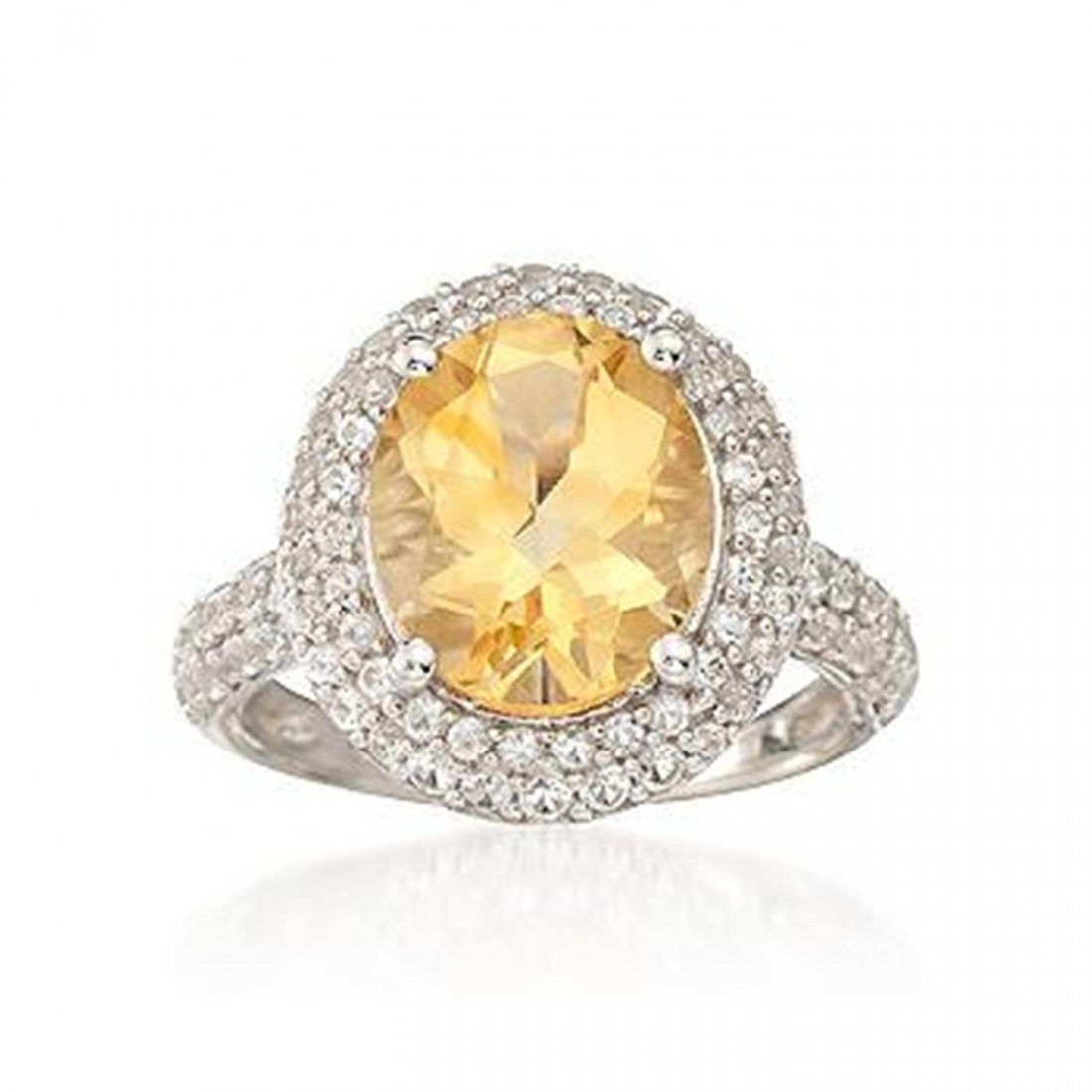 4.30 Carat Citrine Ring With 1.10 ct. t.w. Sapph.