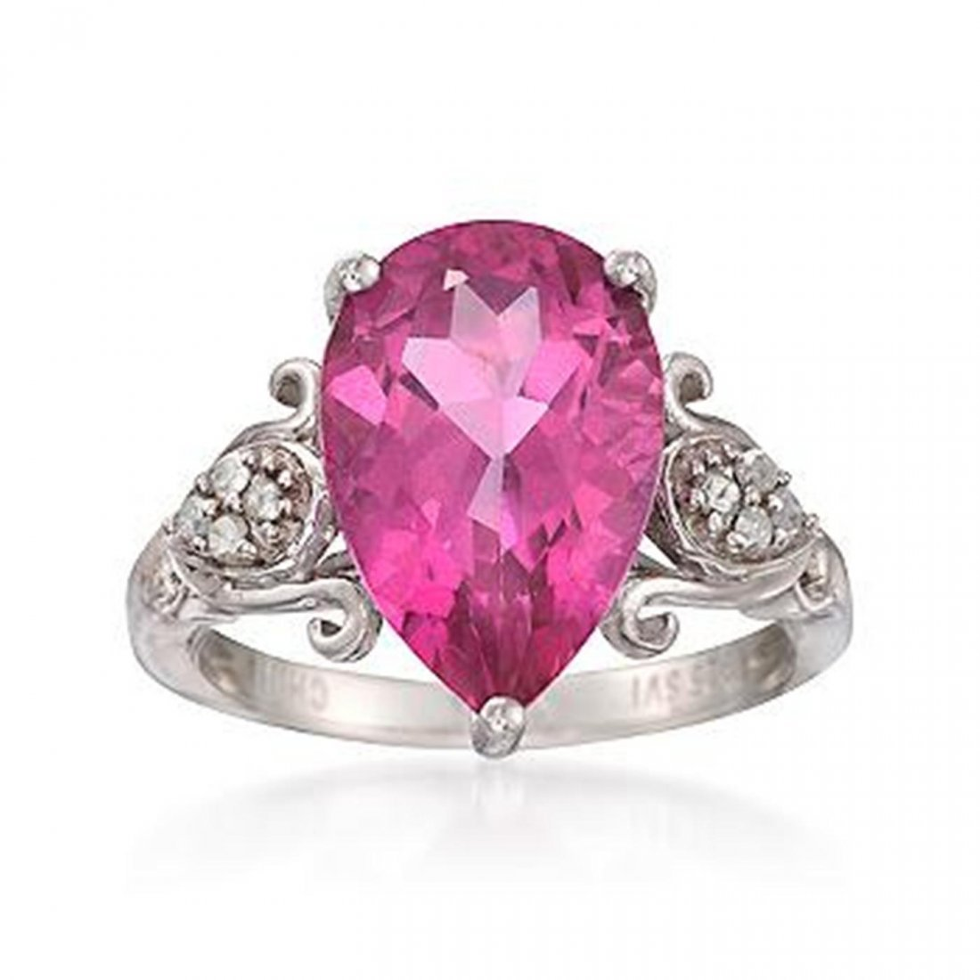 6.75 Carat Pink Topaz and .12 ct. t.w. Dia. Ring