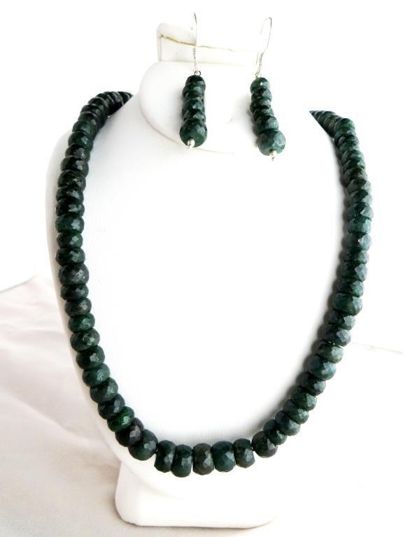 310 tcw. Green Sapphire Gemstone Necklace & E/R