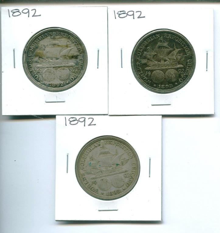 (3) 1892 Columbian Expo  Halves