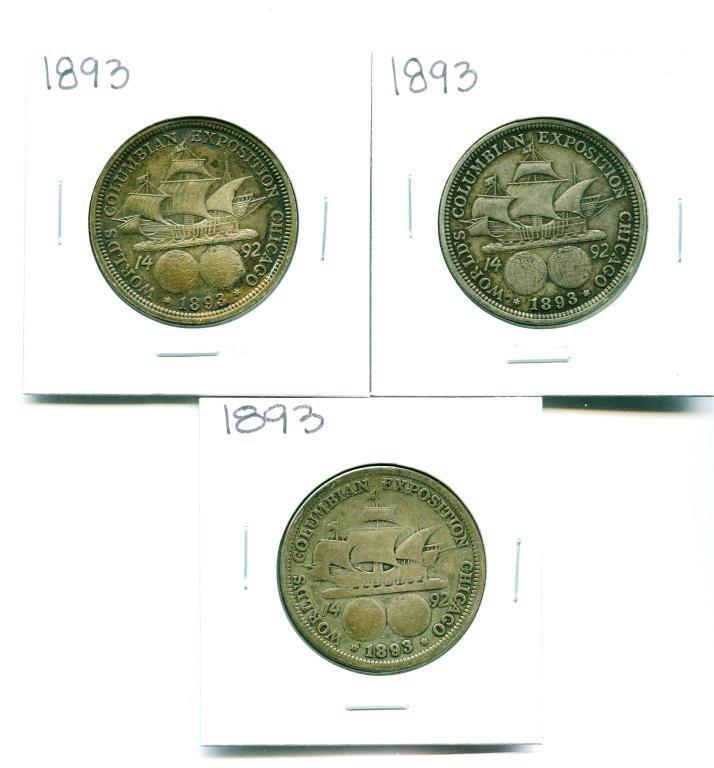 (3) 1893 Columbian Expo Halves