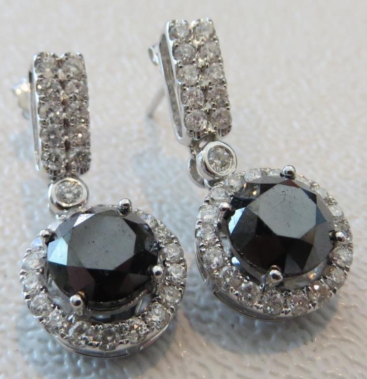 $6.5 K Appraised Black and White Diamond Earrings