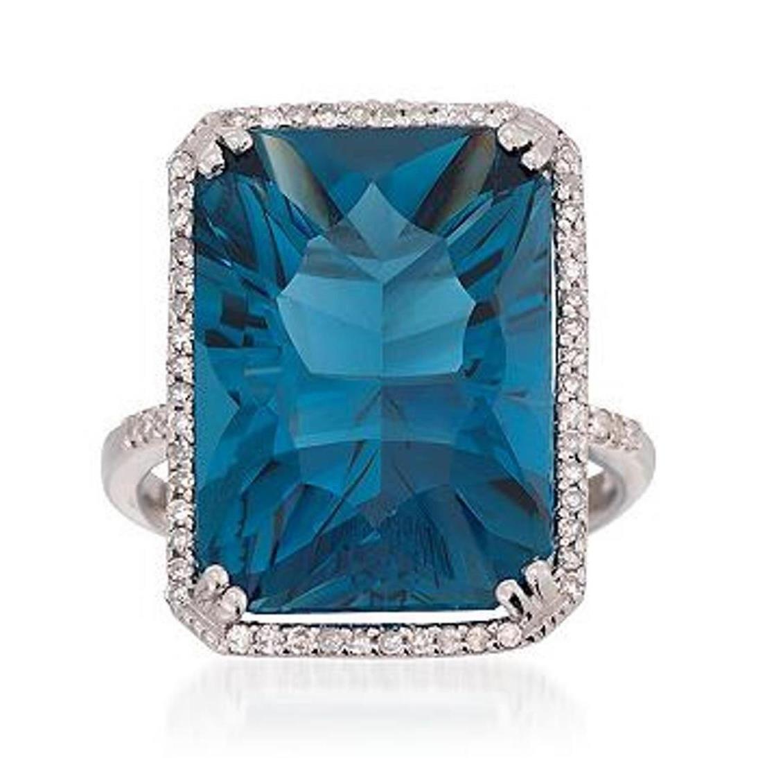 19.88 Carat London Blue Topaz and .26 ct. t.w. Diamond