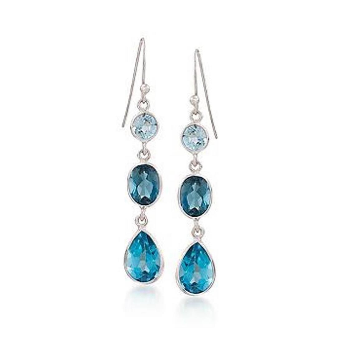 8.95 ct. t.w. Blue Topaz Linear Earrings in Sterling