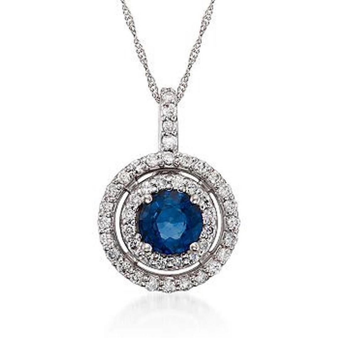 1.10 Carat Sapphire and .45 ct. t.w. Diamond Pendant