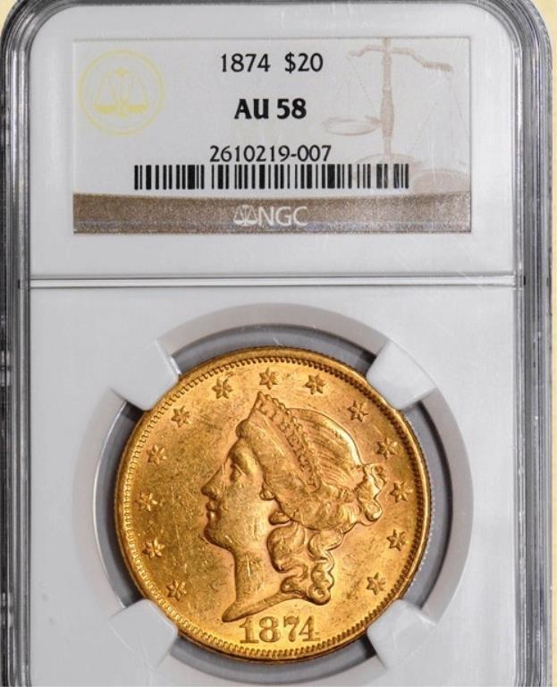 1874 $20 Liberty AU58 NGC