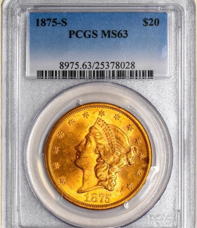 1875-S $20 Liberty MS63 PCGS
