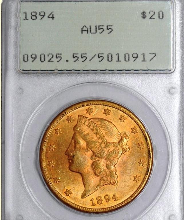 1894 $20 Liberty AU55 PCGS Old Green Holder