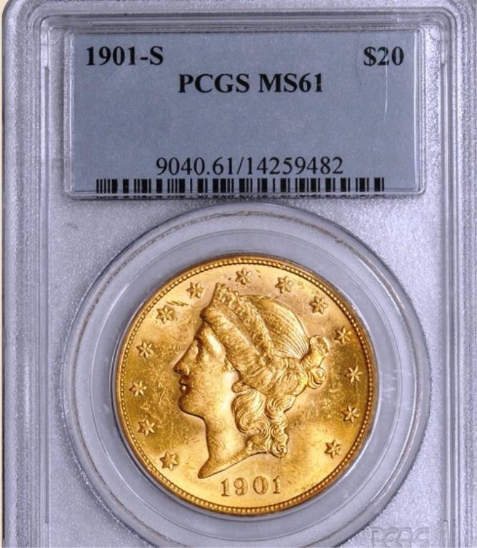 1901-S $20 Liberty MS61 PCGS