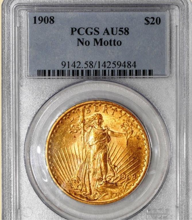 1908 $20 St. Gaudens AU58 PCGS No Motto