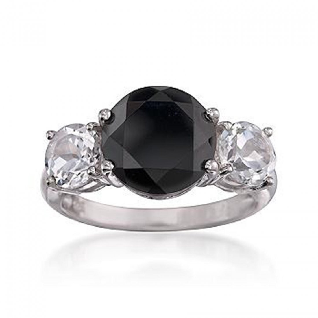 Black Onyx and 2.00 ct. t.w. White Topaz Ring in