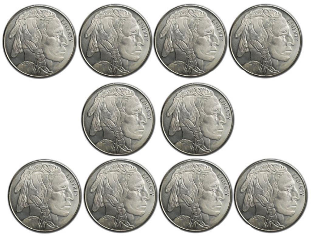 (10) Silver Buffalo Bullion Rounds