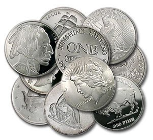 Lot of (10) Assorted RANDOM Silver Rounds