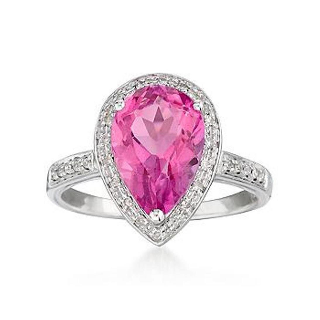 2.50 Carat Pink Topaz Ring With Diamonds in 14kt White