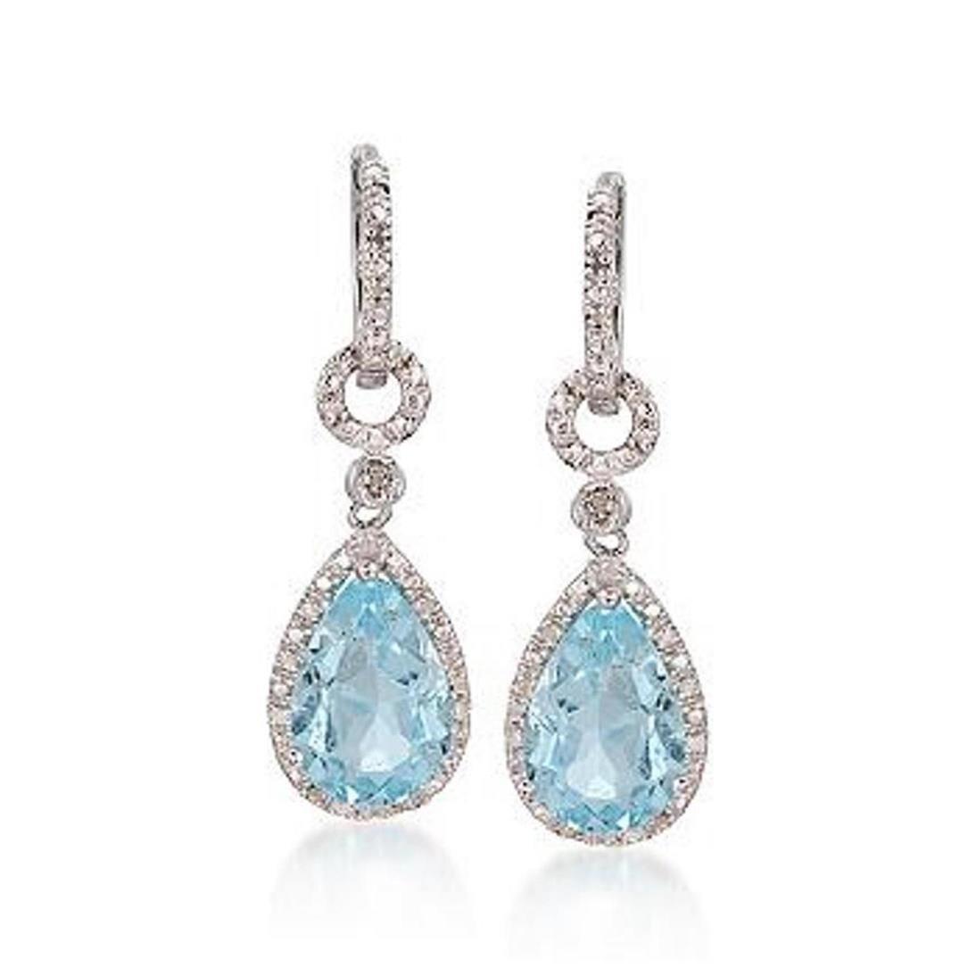 6.00 ct. t.w. Blue Topaz and Diamond Drop Earrings in