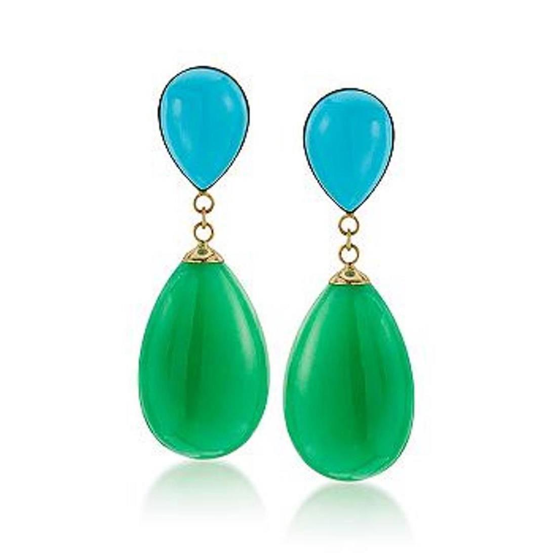Turquoise and Green Jade Teardrop Earrings in 14kt