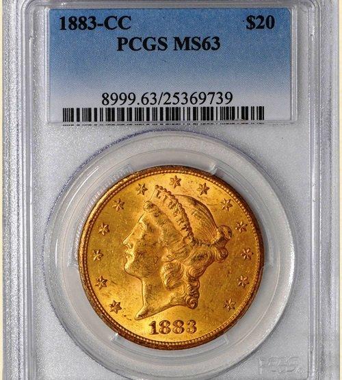1883-CC $20 Liberty MS63 PCGS Super-Rare! Pop 3, None