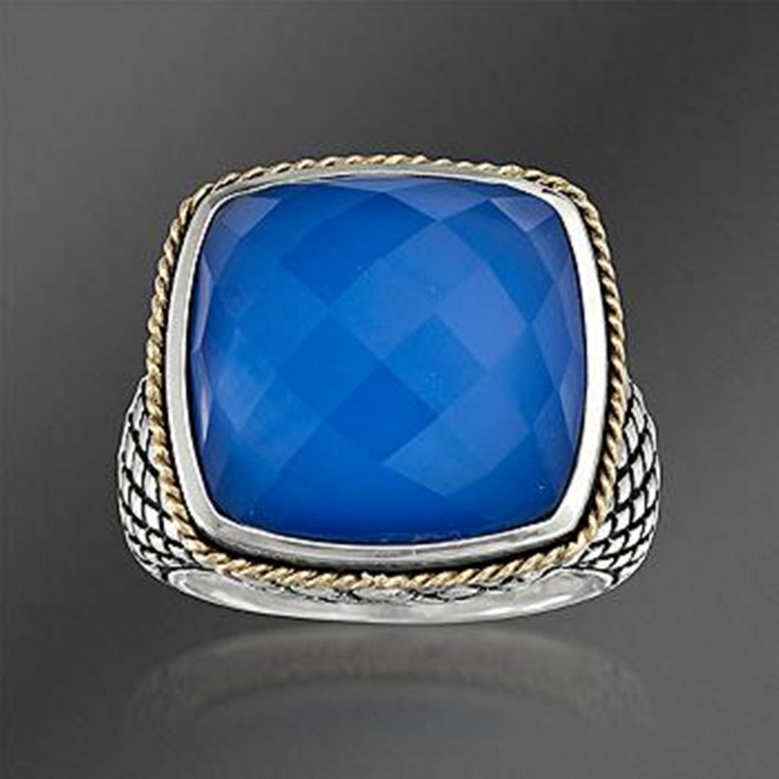 Andrea Candela Blue Agate Doublet Ring With Quartz in