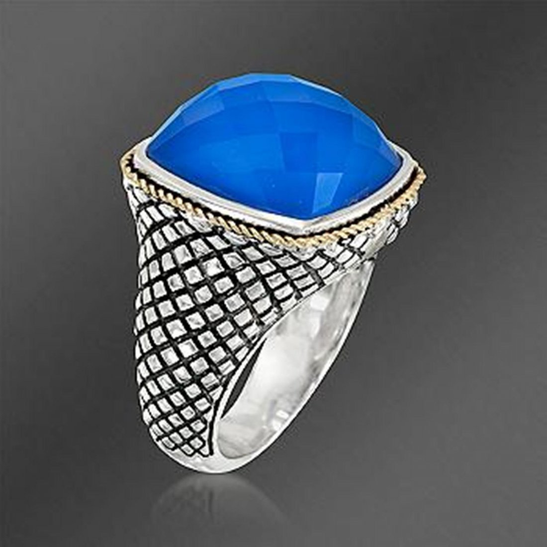 Andrea Candela Blue Agate Doublet Ring With Quartz in - 2