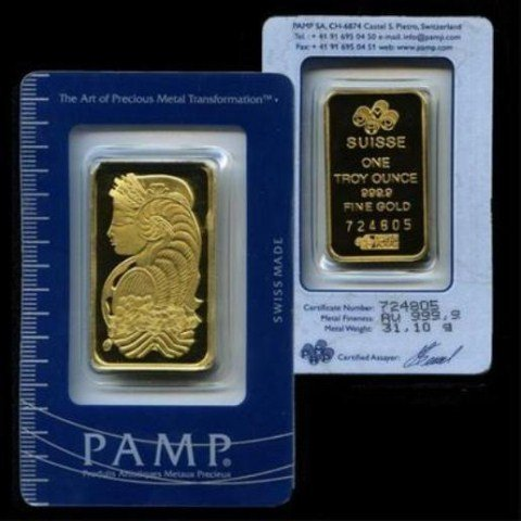 1 Oz. Pamp Suisse Gold Ingot .9999 Pure