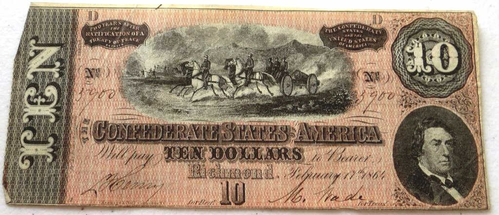 AU- UNC $ 10 Confederate Currency Note