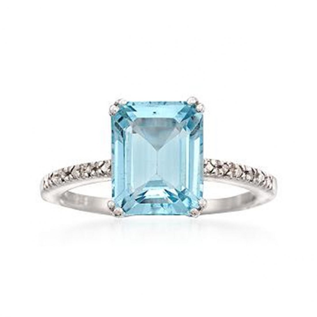 4.40 Carat Emerald-Cut Blue Topaz Ring With Diamor
