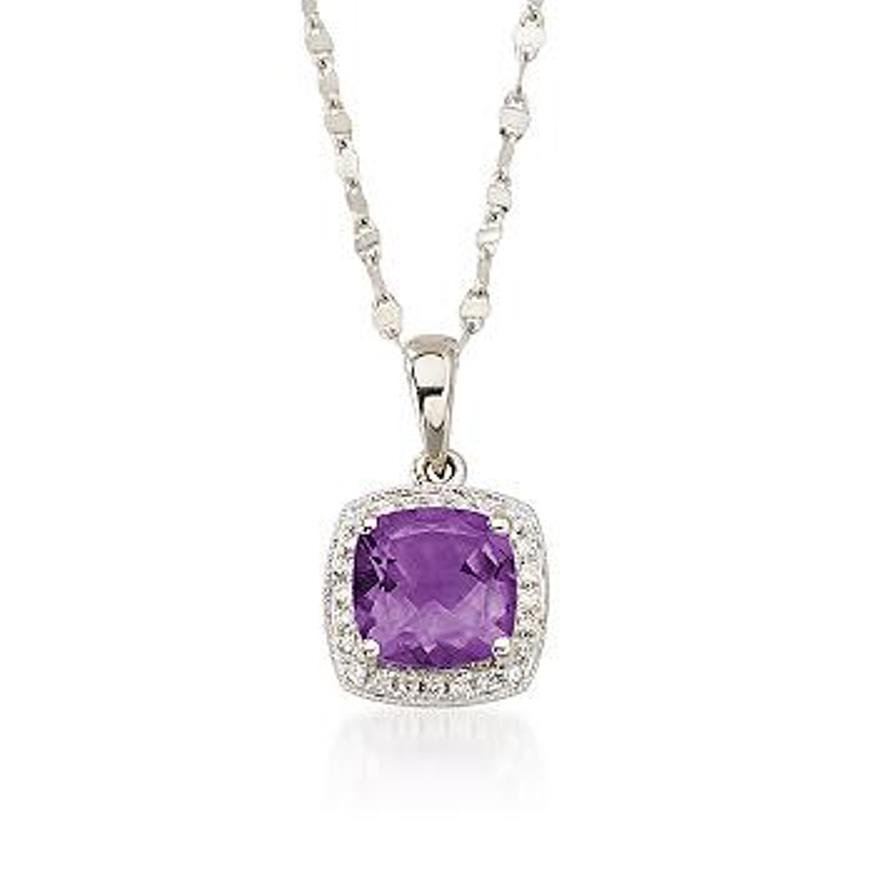1.65 Carat. Amethyst and Diamond Accent Necklace in