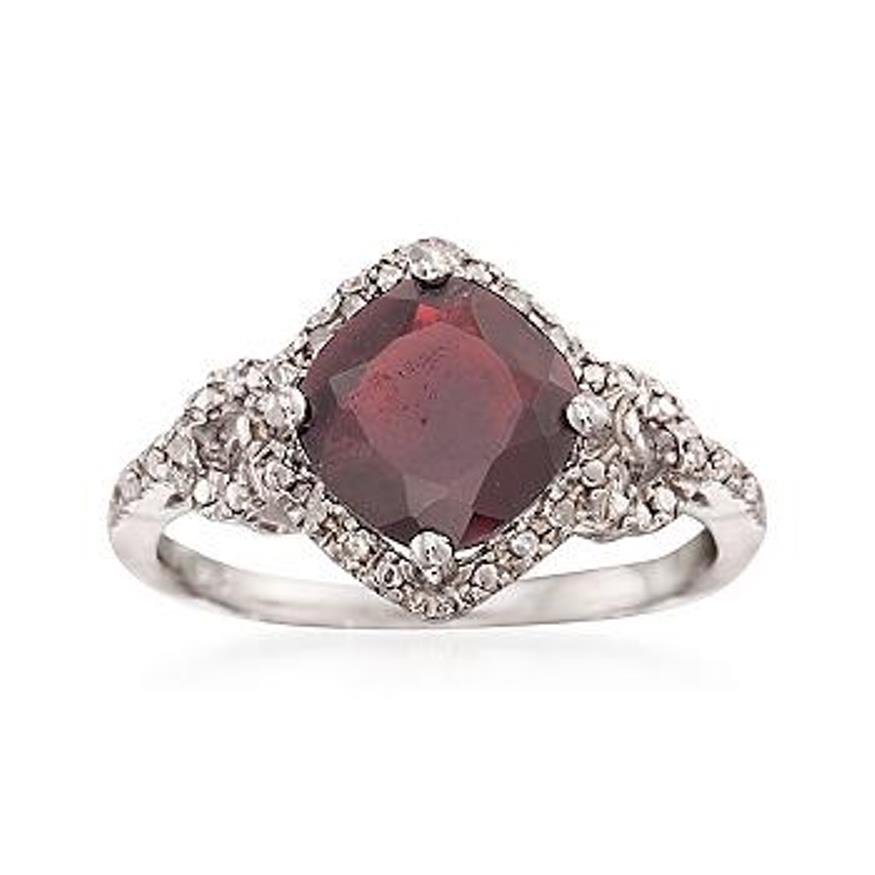 2.70 Carat Garnet and Diamond Ring in Sterling Silver