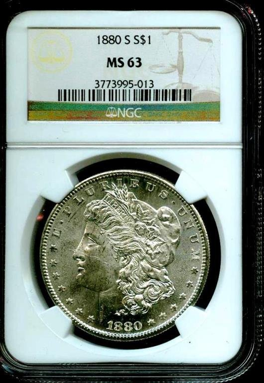 1880 s MS 63 NGC Morgan Silver Dollar