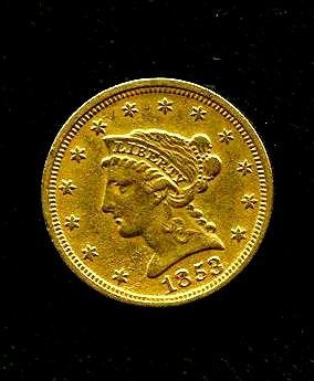 1853 $ 2.5 Gold Liberty US Coin