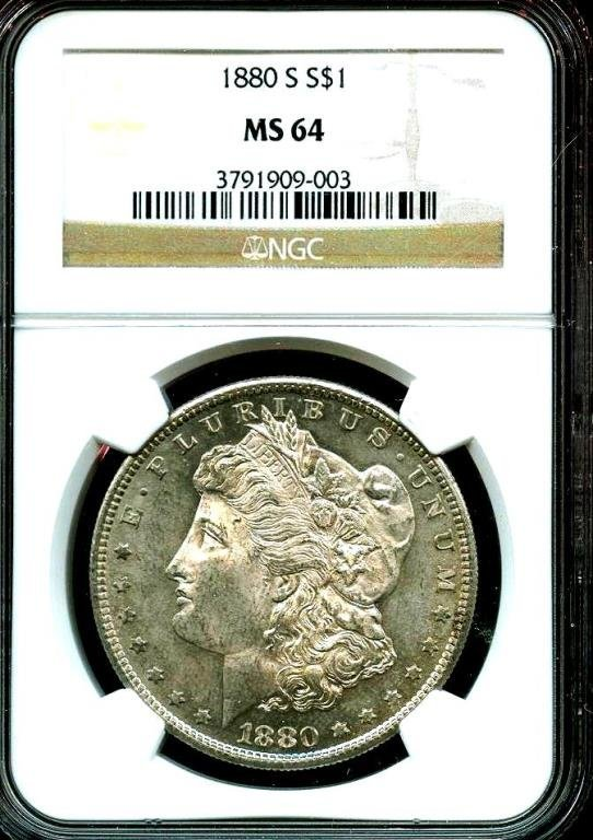 1880 s MS 64 NGC Morgan Silver Dollar