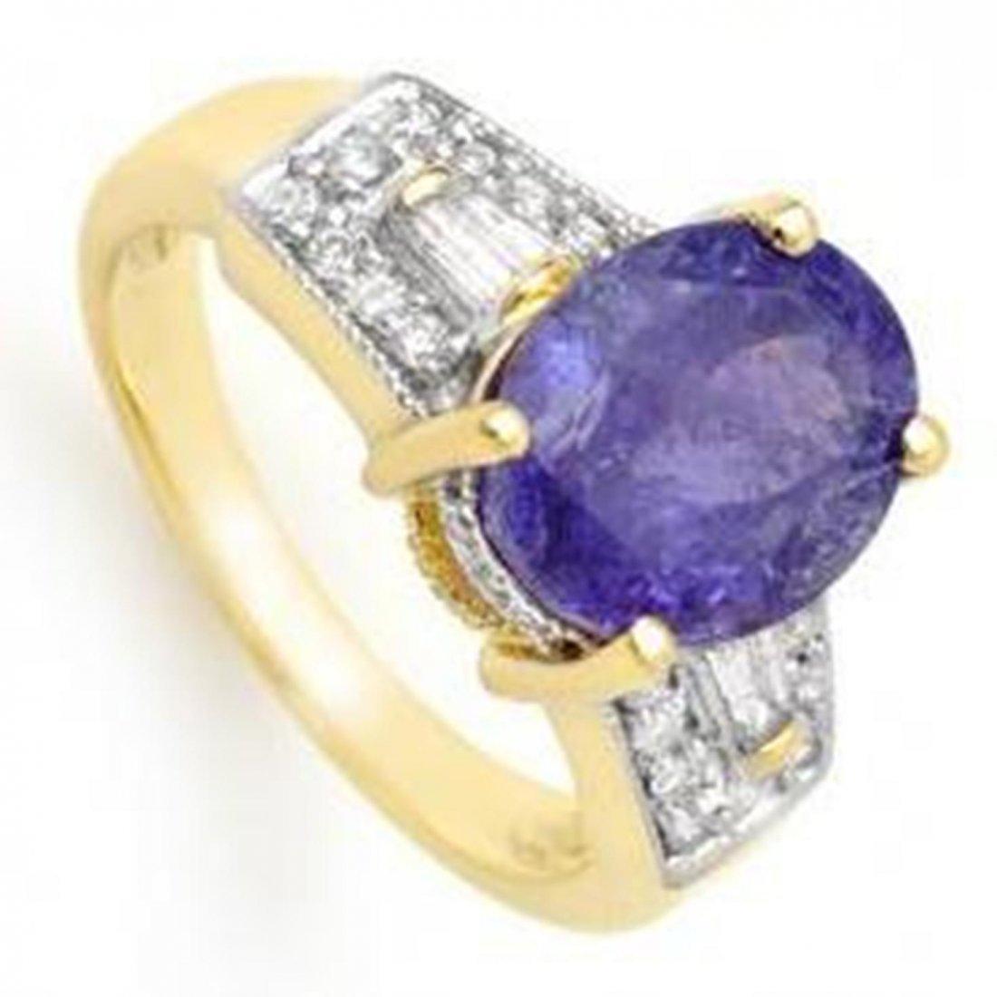 5.55ctw Tanzanite & Diamond Ring 10K Yellow Gold