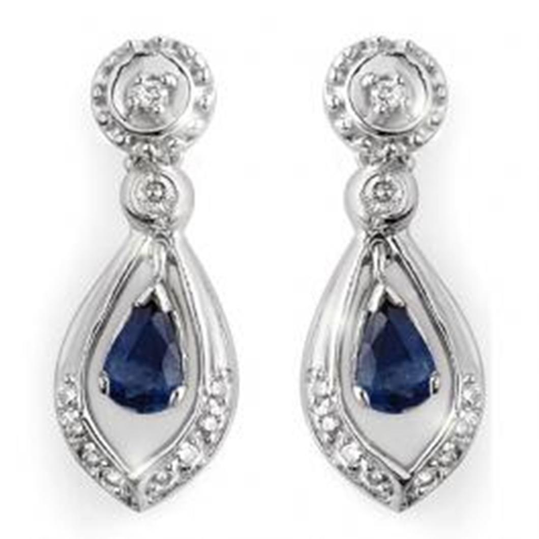 1.36 ctw Blue Sapphire & Diamond Earrings