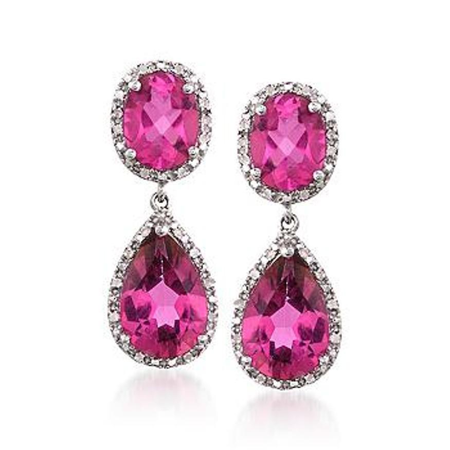 11.25 ct. t.w. Pink Topaz and .14 ct. t.w. Diamond Drop