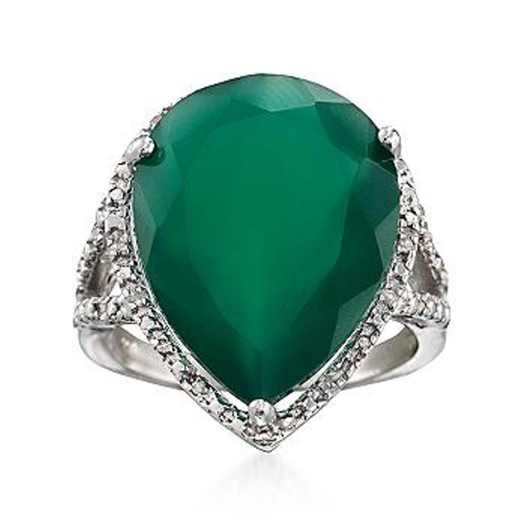 Green Agate Ring With Diamond Accents in Sterling