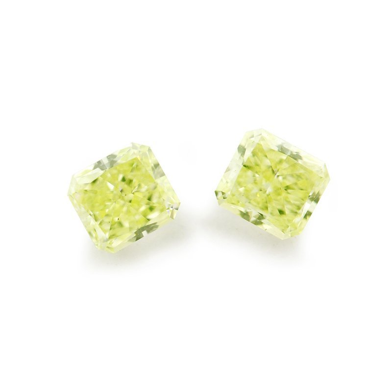 Natural Fancy Green Yellow Loose Diamond Matched Pair