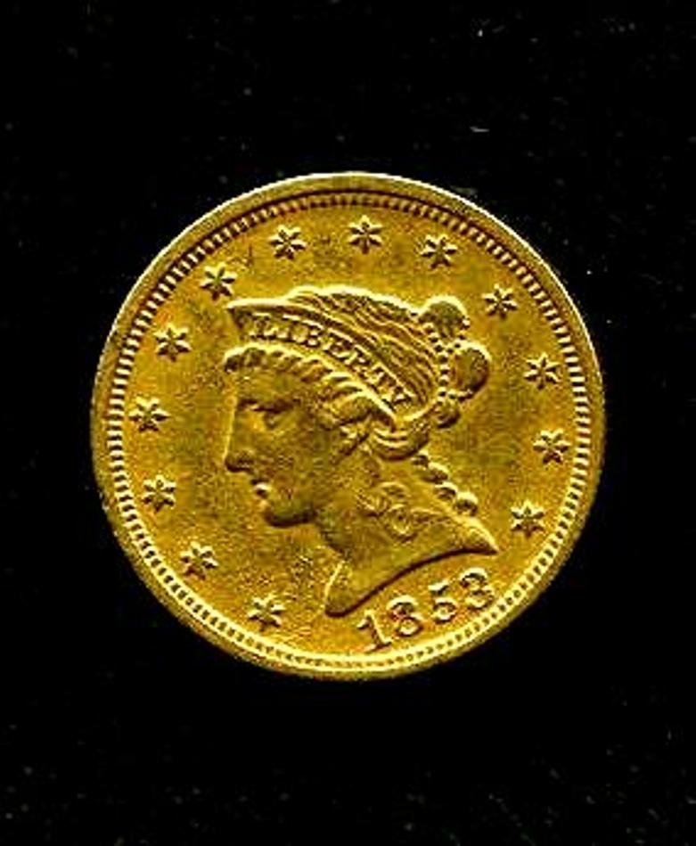 1853 $ 2.5 Better Date Gold Liberty US Coin