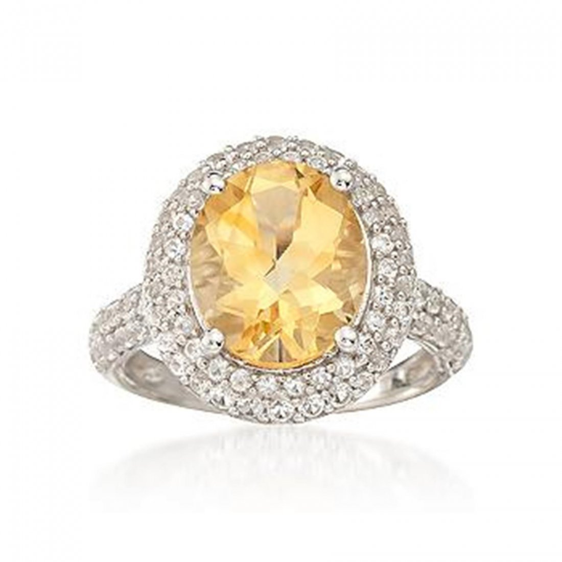 4.30 Carat Citrine Ring With 1.10 ct. t.w. White