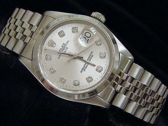 Man's Rolex Date Stainless w/ Diamond Dial
